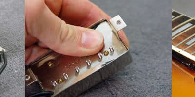 Installation capot humbucker guitare